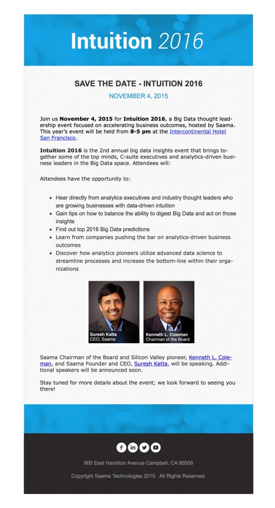 intuition 2016 email - 2nd Annual big data insights event - Saama