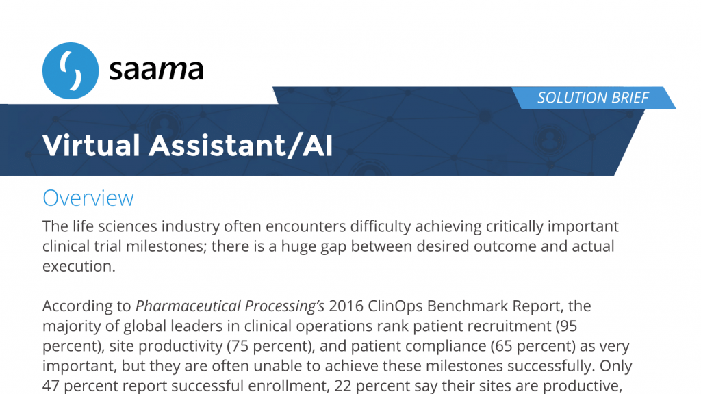 Virtual Assistant/AI Solution Brief - Saama Technologies