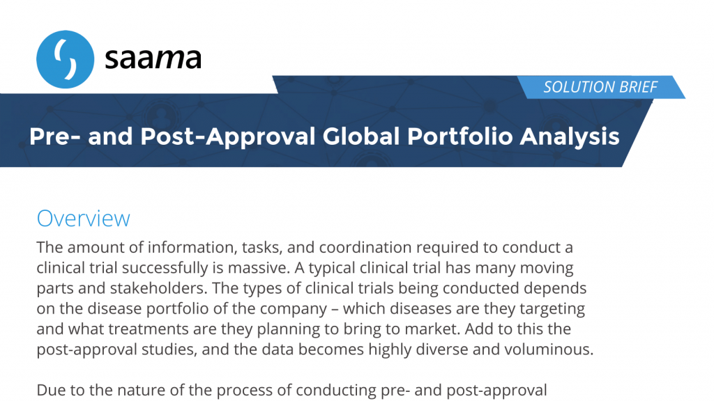 Pre- and Post-Approval Global Portfolio Analysis - Saama